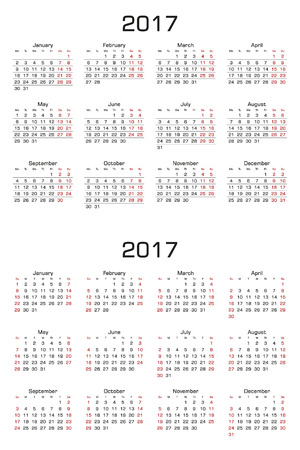 week: Simple Calendar 2017. Two versions, week starts from sunday and week starts from monday. Vector Illustration. Illustration