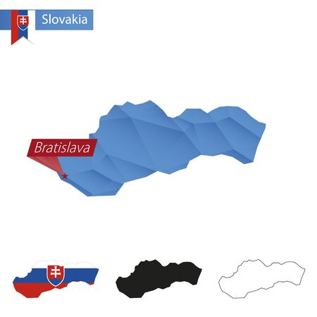 Slovakia blue Low Poly map with capital Bratislava, versions with flag, black and outline. Vector Illustration.