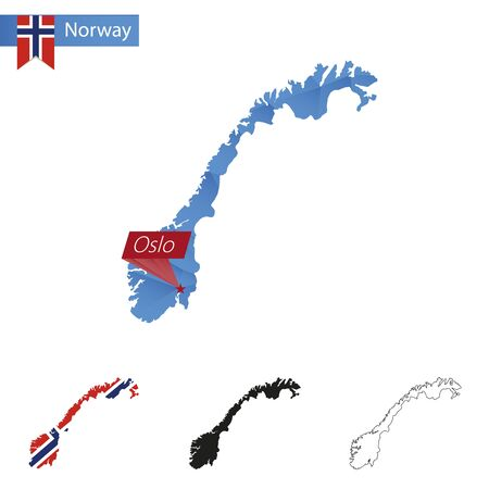 Norway blue Low Poly map with capital Oslo, versions with flag, black and outline. Vector Illustration.