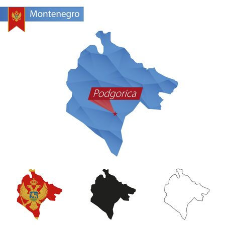 mainland: Montenegro blue Low Poly map with capital Podgorica, four versions of map. Vector Illustration.