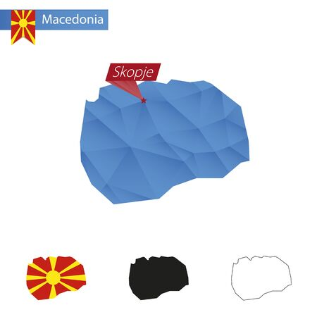 mainland: Macedonia blue Low Poly map with capital Skopje, versions with flag, black and outline. Vector Illustration.