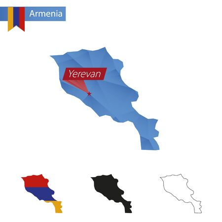 Armenia blue Low Poly map with capital Yerevan, versions with flag, black and outline. Vector Illustration.