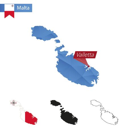 Malta blue Low Poly map with capital Valletta, versions with flag, black and outline. Vector Illustration. Illustration