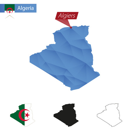 Algeria blue Low Poly map with capital Algiers, versions with flag, black and outline. Vector Illustration.