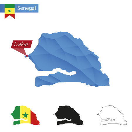 dakar: Senegal blue Low Poly map with capital Dakar, versions with flag, black and outline. Vector Illustration.