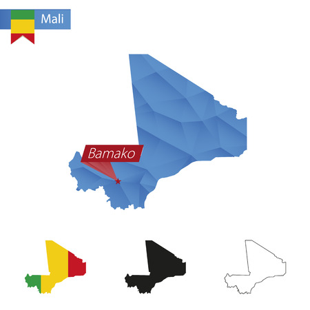 bamako: Mali blue Low Poly map with capital Bamako, versions with flag, black and outline. Vector Illustration.