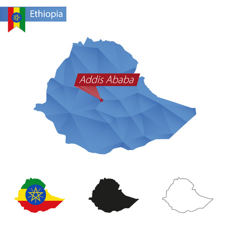 Ethiopia blue Low Poly map with capital Addis Ababa, versions with flag, black and outline. Vector Illustration.