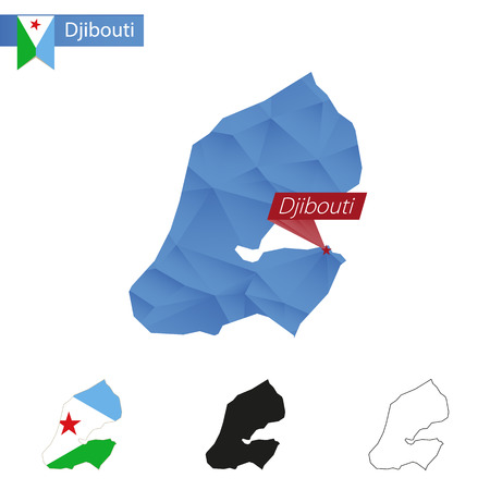 Djibouti blue Low Poly map with capital Djibouti, versions with flag, black and outline. Vector Illustration.