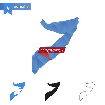 Somalia blue Low Poly map with capital Mogadishu, versions with flag, black and outline. Vector Illustration.