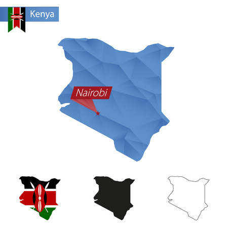 nairobi: Kenya blue Low Poly map with capital Nairobi, versions with flag, black and outline. Vector Illustration.
