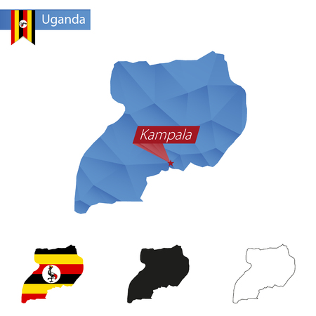 kampala: Uganda blue Low Poly map with capital Kampala, versions with flag, black and outline. Vector Illustration.