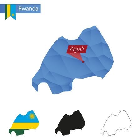 kigali: Rwanda blue Low Poly map with capital Kigali, versions with flag, black and outline. Vector Illustration.
