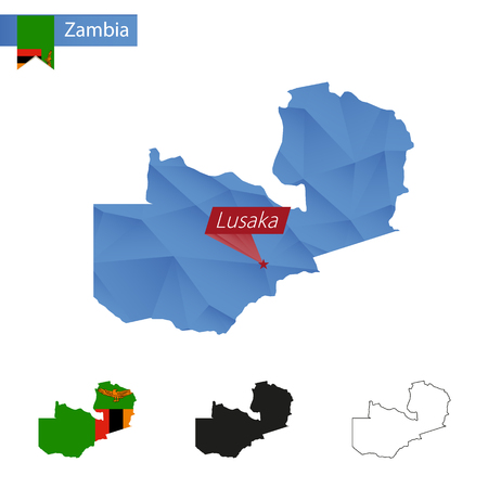 Zambia blue Low Poly map with capital Lusaka, versions with flag, black and outline. Illustration.