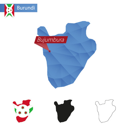 Burundi blue Low Poly map with capital Bujumbura, versions with flag, black and outline. Illustration.