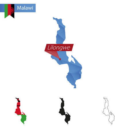 Malawi blue Low Poly map with capital Lilongwe, versions with flag, black and outline. Illustration.