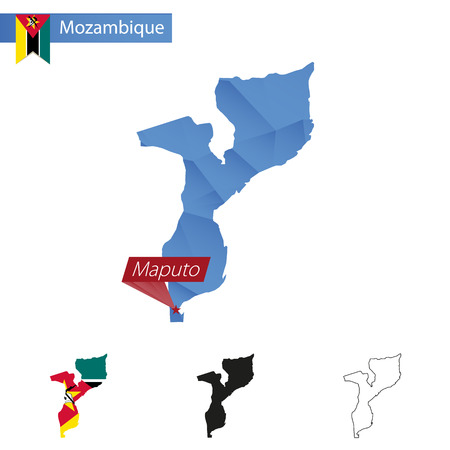 Mozambique blue Low Poly map with capital Maputo, versions with flag, black and outline. Illustration.