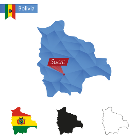 mapa de bolivia: Bolivia azul mapa poli baja con un capital de Sucre, versiones con la bandera, negro y contorno. Ilustración. Vectores