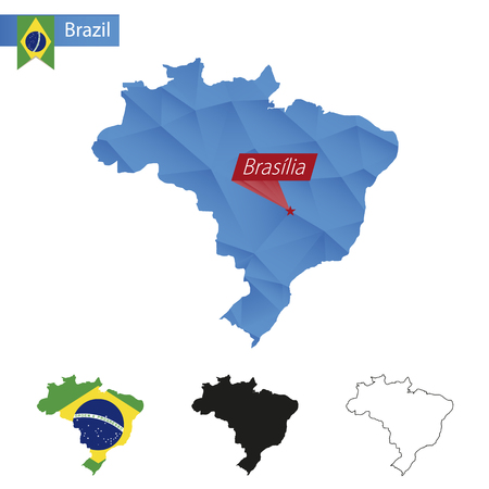 brasilia: Brazil blue Low Poly map with capital Brasilia, four versions of map. Illustration.