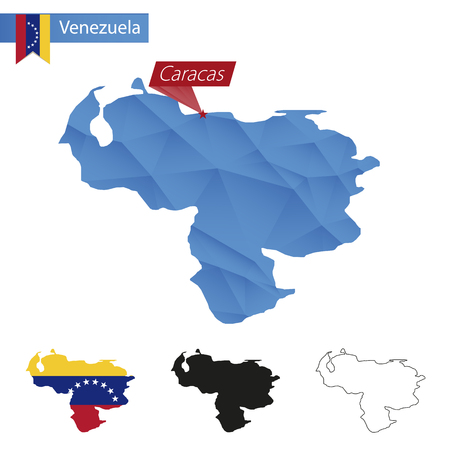 mapa de venezuela: Venezuela blue Low Poly map with capital Caracas, four versions of map. Illustration. Vectores