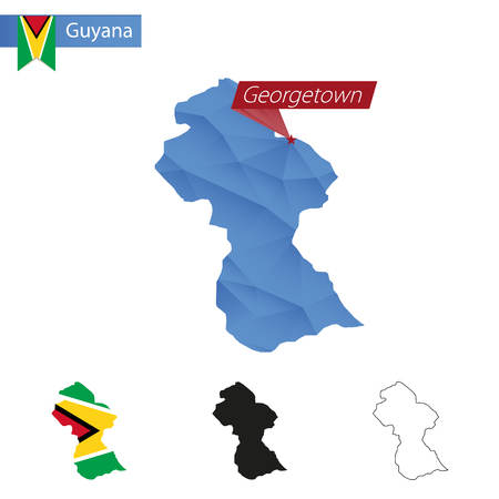 georgetown: Guyana blue Low Poly map with capital Georgetown, four versions of map. Illustration.