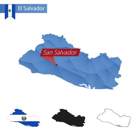 mapa de el salvador: Mapa de El Salvador azul bajo polivin�lico con la capital, San Salvador, versiones con la bandera, negro y contorno. Ilustraci�n.