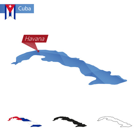 havana cuba: Cuba blue Low Poly map with capital Havana, versions with flag, black and outline.  Illustration.