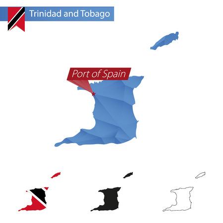 port of spain: Trinidad and Tobago blue Low Poly map with capital Port of Spain, versions with flag, black and outline. Illustration. Illustration