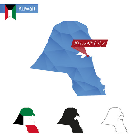 mainland: Kuwait blue Low Poly map with capital Kuwait City, versions with flag, black and outline.