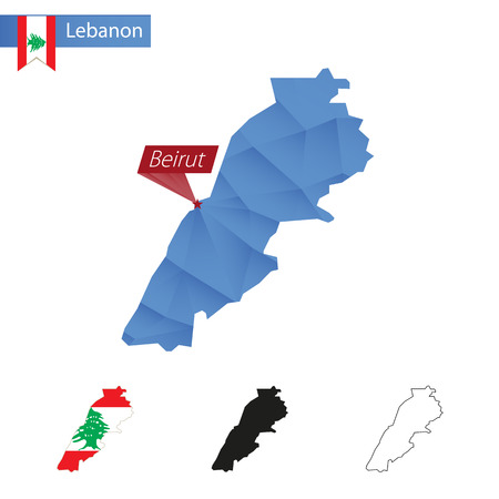 beirut: Lebanon blue Low Poly map with capital Beirut, versions with flag, black and outline.
