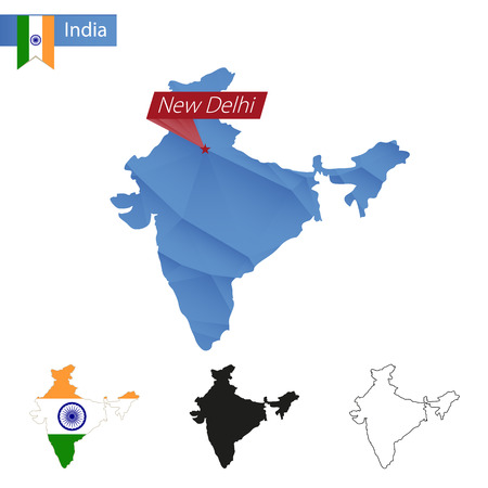 new delhi: India blue Low Poly map with capital New Delhi, versions with flag, black and outline.