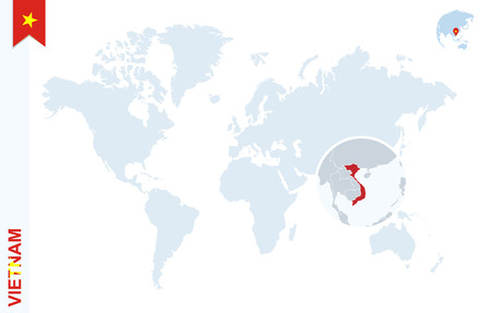 World map with magnifying on Vietnam. Blue earth globe with Vietnam flag pin. Zoom on Vietnam map. Vector Illustration