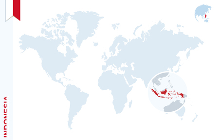 World map with magnifying on Indonesia. Blue earth globe with Indonesia flag pin. Zoom on Indonesia map. Vector Illustration