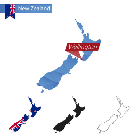 New Zealand blue Low Poly map with capital Wellington, four versions of map. Vector Illustration. 일러스트