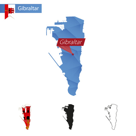 Gibraltar blue Low Poly map with capital, versions with flag, black and outline. Vector Illustration.