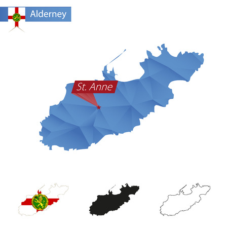 Alderney blue Low Poly map with capital St. Anne, four versions of map. Vector Illustration.