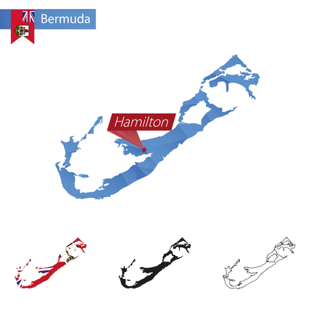 hamilton: Bermuda blue Low Poly map with capital Hamilton, four versions of map. Vector Illustration.