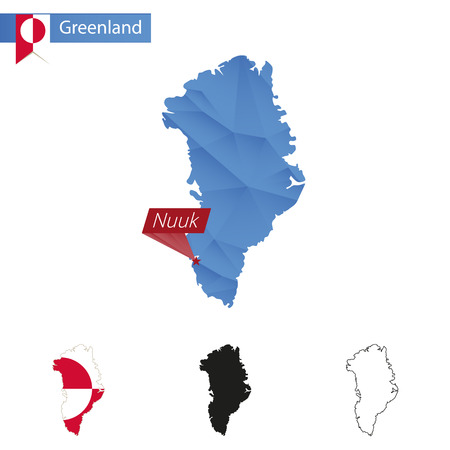 nuuk: Greenland blue Low Poly map with capital Nuuk, four versions of map. Vector Illustration.