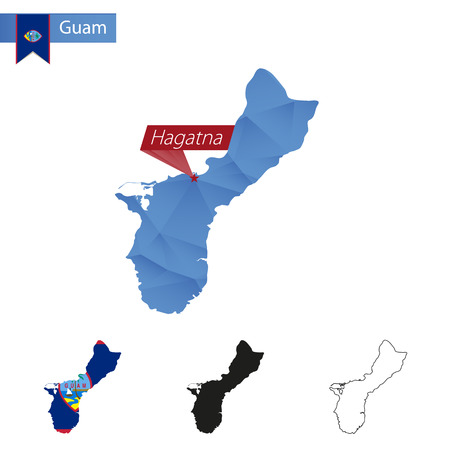 Guam blue Low Poly map with capital Hagatna, versions with flag, black and outline. Vector Illustration. Illustration