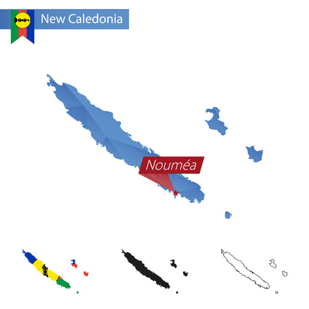 New Caledonia blue Low Poly map with capital Noumea, versions with flag, black and outline. Vector Illustration.