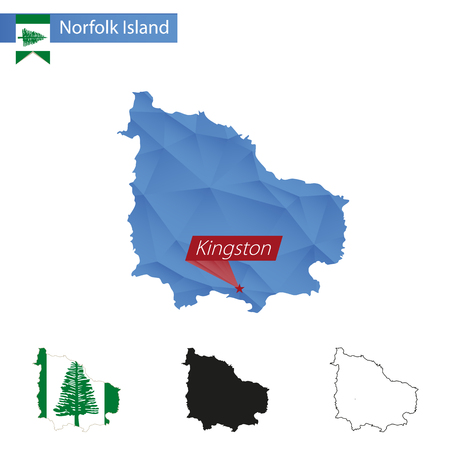 kingston: Norfolk Island blue Low Poly map with capital Kingston, versions with flag, black and outline. Vector Illustration.