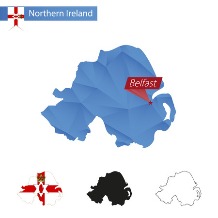 belfast: Northern Ireland blue Low Poly map with capital Belfast, versions with flag, black and outline. Vector Illustration.