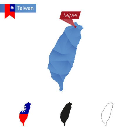 the mainland: Taiwan blue Low Poly map with capital Taipei, versions with flag, black and outline. Vector Illustration.