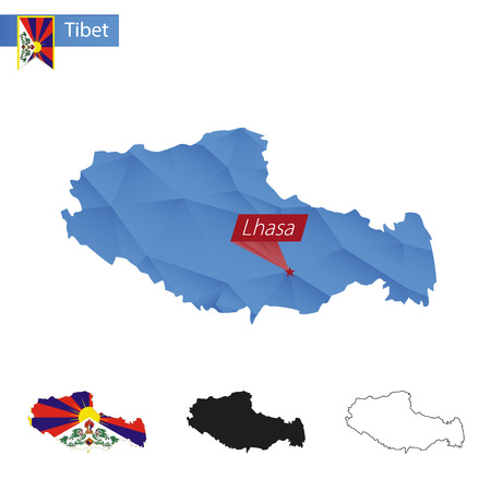 tibet: Tibet blue Low Poly map with capital Lhasa, versions with flag, black and outline. Vector Illustration. Illustration