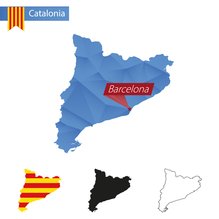 catalonia: Catalonia blue Low Poly map with capital Barcelona, versions with flag, black and outline. Vector Illustration. Illustration