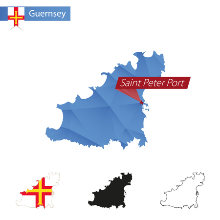 Guernsey blue Low Poly map with capital Saint Peter Port, four versions of map. Vector Illustration.