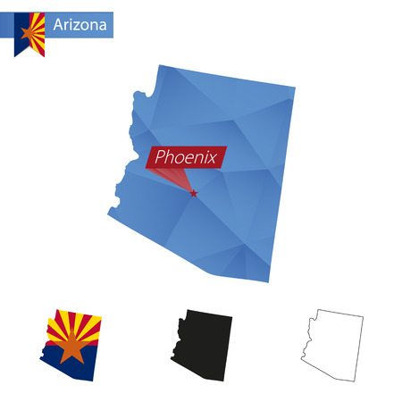 phoenix arizona: State of Arizona blue Low Poly map with capital Phoenix, versions with flag, black and outline. Vector Illustration.