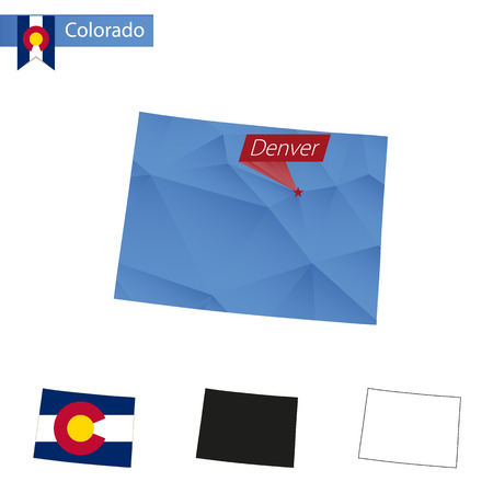 State of Colorado blue Low Poly map with capital Denver, versions with flag, black and outline. Vector Illustration. Illustration