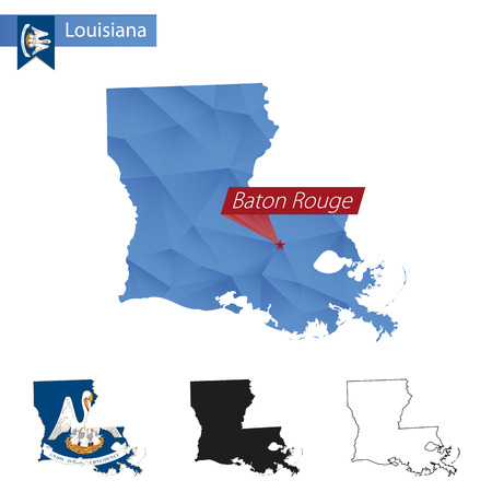 baton rouge: State of Louisiana blue Low Poly map with capital Baton Rouge, versions with flag, black and outline. Vector Illustration.
