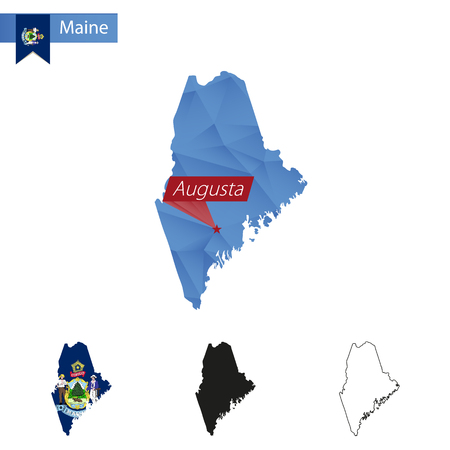 State Of Maine Blue Low Poly Map With Capital Augusta Versions