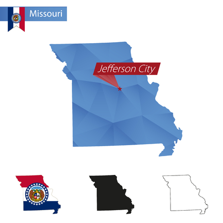 jefferson: State of Missouri blue Low Poly map with capital Jefferson City, versions with flag, black and outline. Vector Illustration.